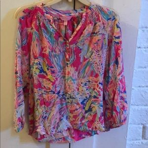 Lilly Pulitzer XS long sleeved silk Elsa top